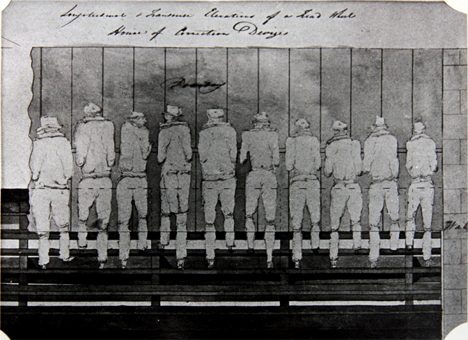 photo of a drawing of convicts grinding corn on the Devizes Prison ...