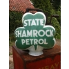 SOLD Rarity 1937 State Shamrock Petrol Glass Pump Globe