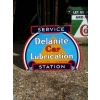 1930s Rarity Delanite Lubrication Service Station Enamel Sign Double Sided