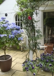 b and b in delightful Tunbridge Wells Kent with views across pretty courtyard, the old coach room where guests enjoy their breakfast, the twin room accommodation and guest house private bathroom.