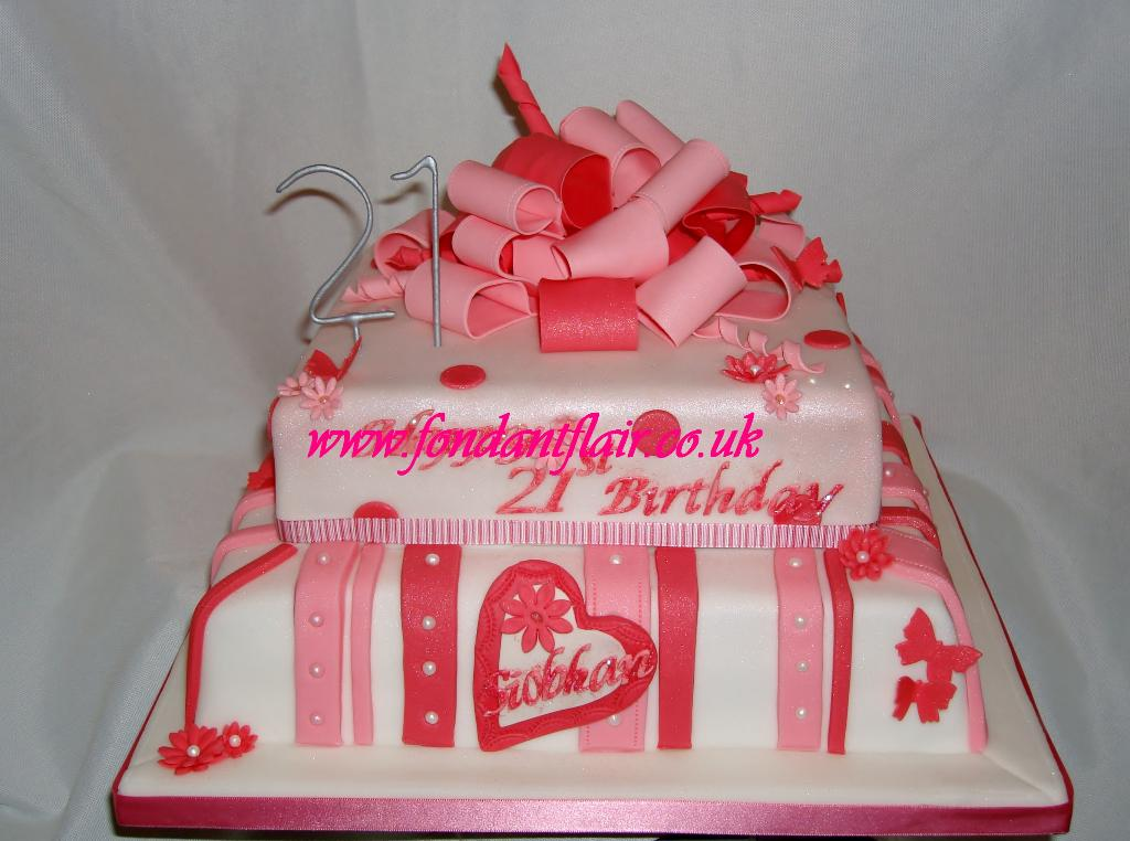 Pink present cake with bow.  Fondant Flair, Colchester