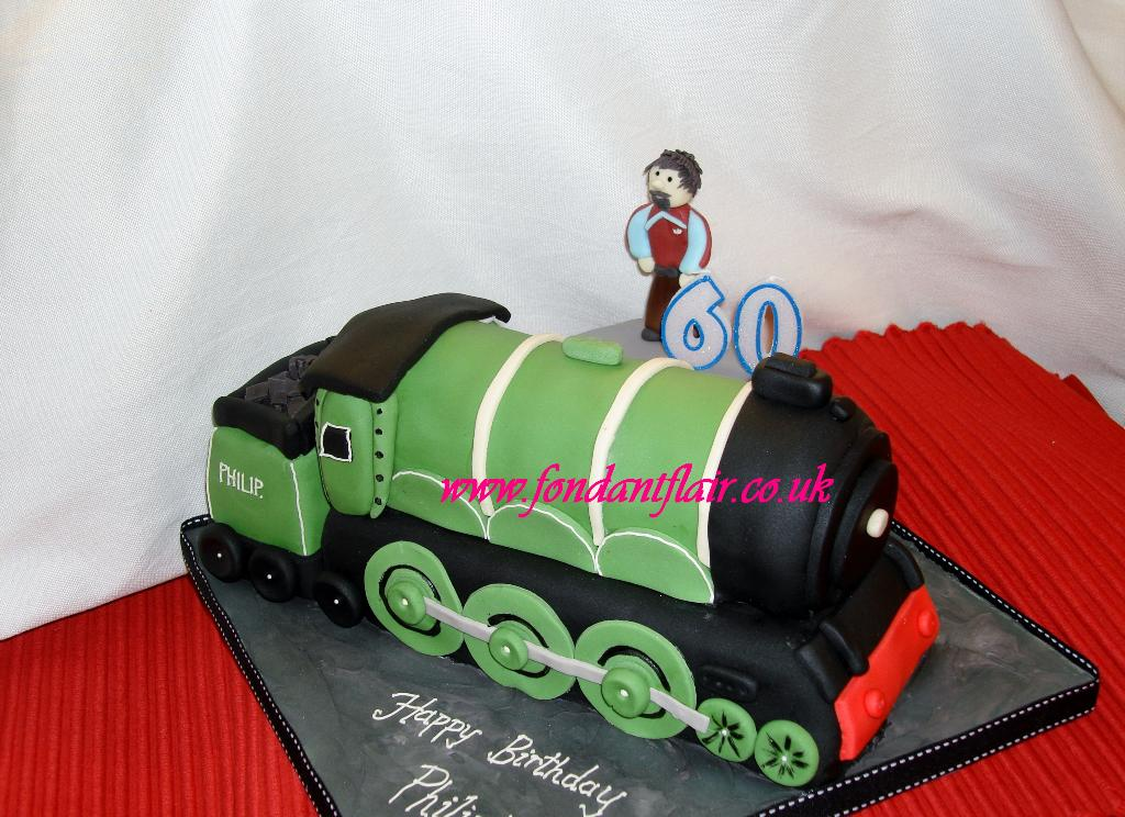 Green train cake. Fondant Flair, Colchester