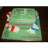 Football pitch cake with scarves