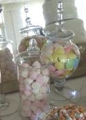 Sweets and candy buffet table with 20 choices