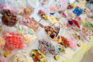 wedding party sweets and candy cart, candy bar, sweets buffet