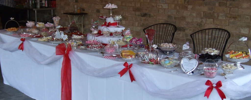 Wedding sweets and candy buffet table Coventry for 100 guests