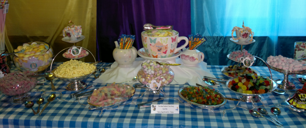 sweets buffet table Oxford - Mad Hatter's Tea Party