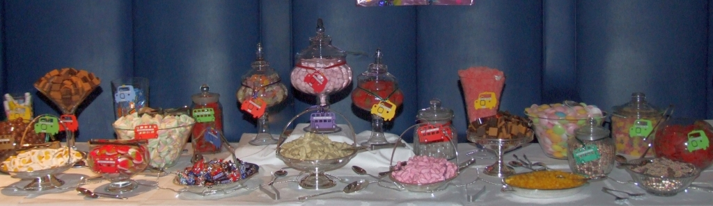 party sweets and candy buffet Oxford. 34 varieties chosen for a 30' long table for 1700 guests