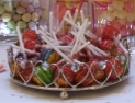 gorgeous modern or vintage dishes and bonbon jars to present your 20 choices of sweets and chocolates on your wedding or party sweets table