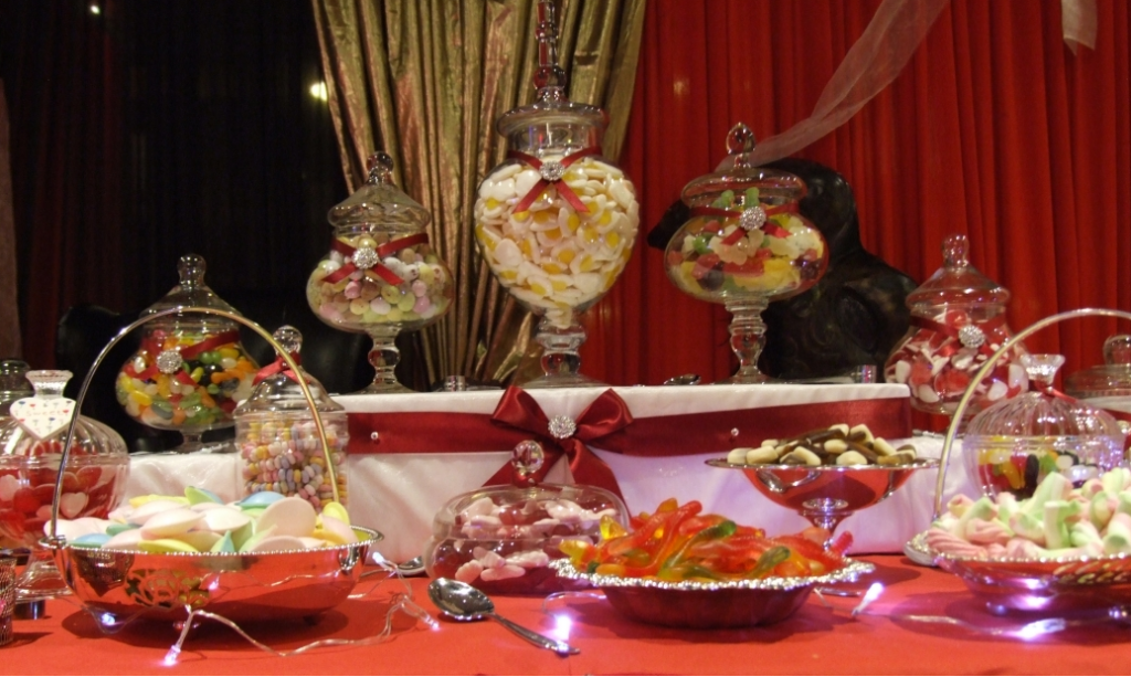 Centre of a Sweets buffet for 200 at Northampton University Masquerade Ball