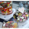 All shapes and sizes of sweet jars and bon bon jars and open dishes to hold your 20 to 60 varieties sweets and candy buffet.