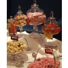 Candy buffet Cambridge. Bonbon jars and silver dishes present your sweets choices for your candy buffet.