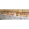 Candy buffet table Warwick. 12' long sweets buffet with 22 varieties for 100 wedding guests at Ardencote Manor, Warwick.
