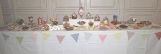 Wedding sweets and candy buffet table with 20 varieties for 100 guests, on a 12' long table at Aston Hall, Sheffield