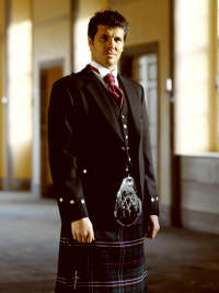 Scotland's National Tartan kilt outfit.
