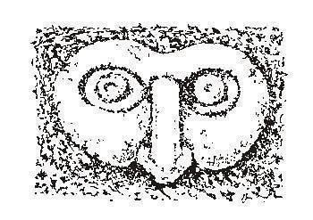 A Makemake mask carved into rock.