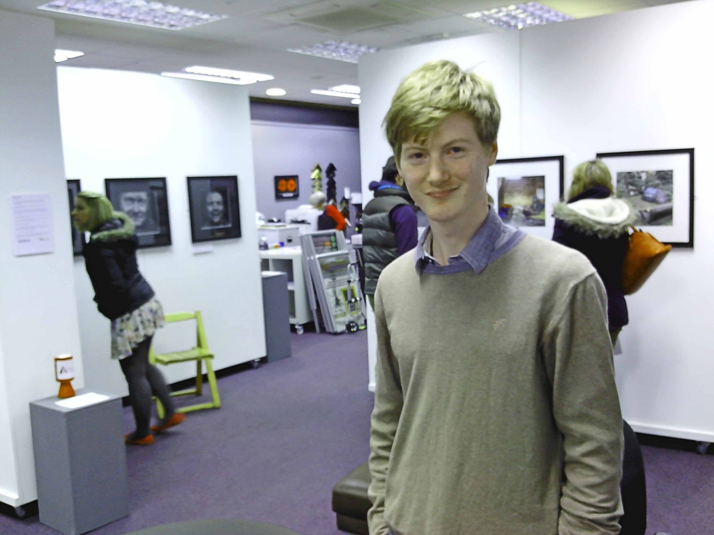 Josh King, after his talk at his 'On the Street' photo exhib at Gallery150, Leamington Spa, on 29th January 2013.