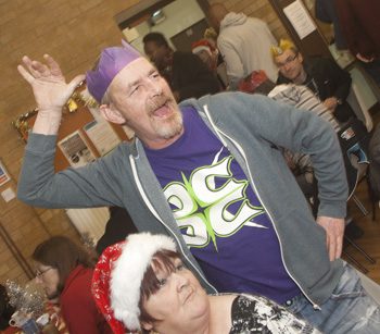 Exuberance being shown, at the annual Christmas meal at Northampton's Street Church, on 22nd December.