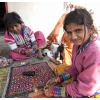 Girls doing needlework in village near Bhuj, Gujarat, India.