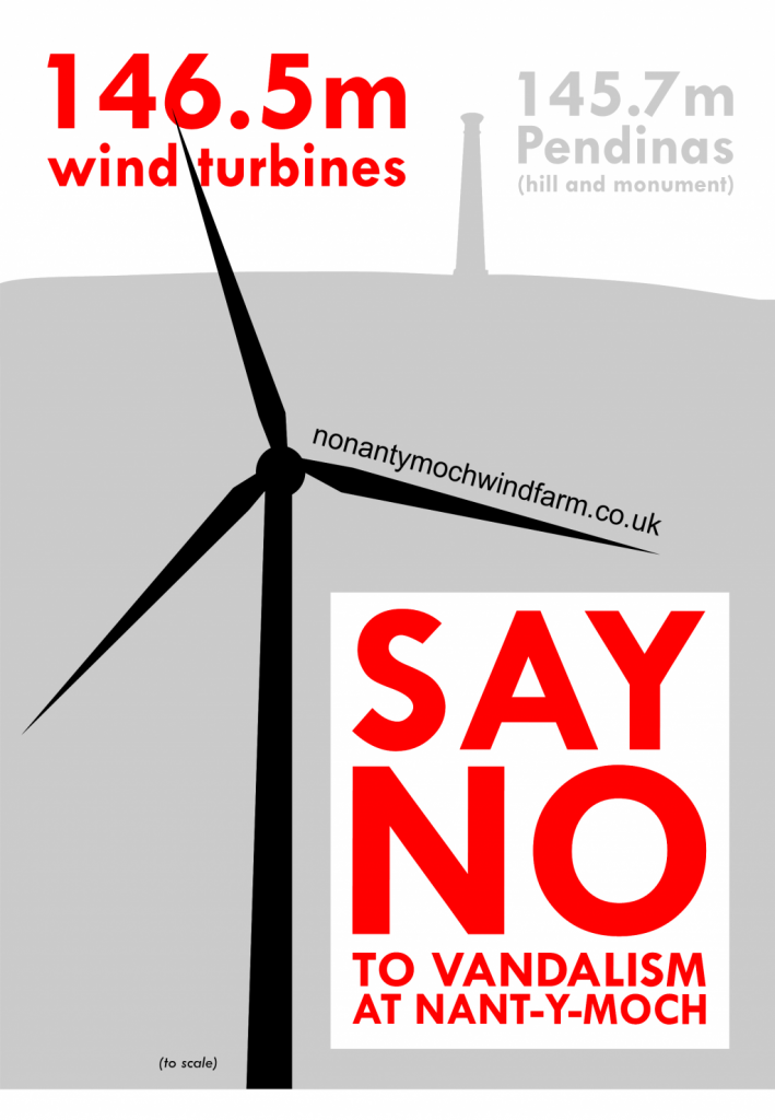 campaign poster to protest object say no to nant y moch windfarm turbines planning proposal near Plynlimon Pumlumon Aberystwyth Cambrian Mountains mid Wales