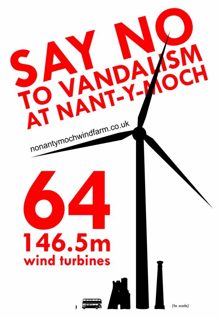 campaign poster to say no protest object to nant y moch windfarm turbines planning proposal near Pumlumon Plylimon Aberystwyth Cambrian Mountains mid Wales