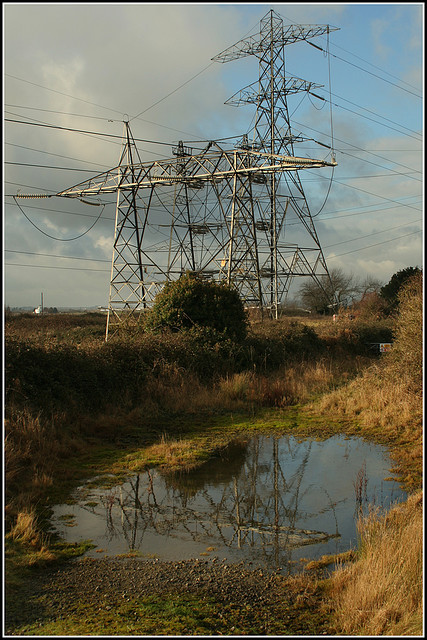 pylons in the countryside - copyright Ben Salter