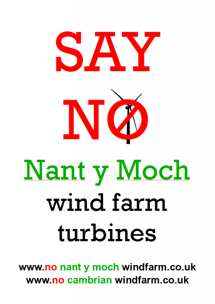 protest object and say no to Nant y Moch wind farm turbines mid Wales & Shropshire pylons and stop the Abermule Cefn Coch connection hub