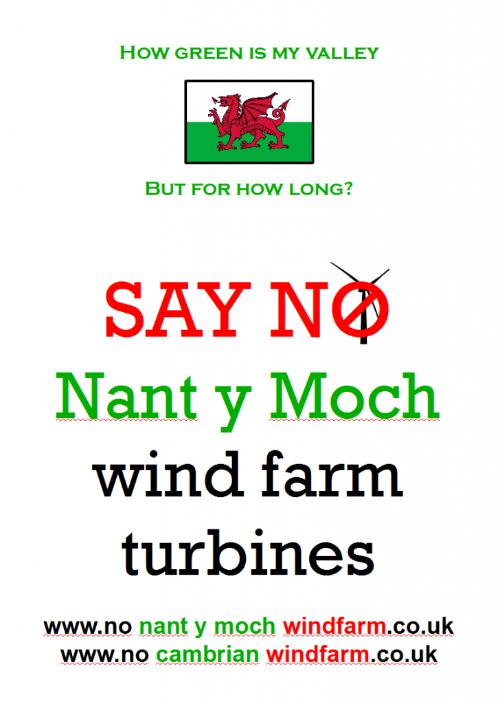 campaign protest say no and object to Nant y Moch wind farm turbines and mid Wales & Shropshire pylons and stop the Abermule and Cefn Coch connection hub