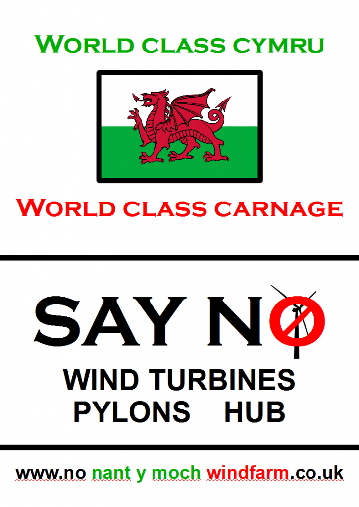 campaign protest say no and object to Nant y Moch wind farm turbines plans and mid Wales & Shropshire pylons and stop the Abermule and Cefn Coch connection hub proposal
