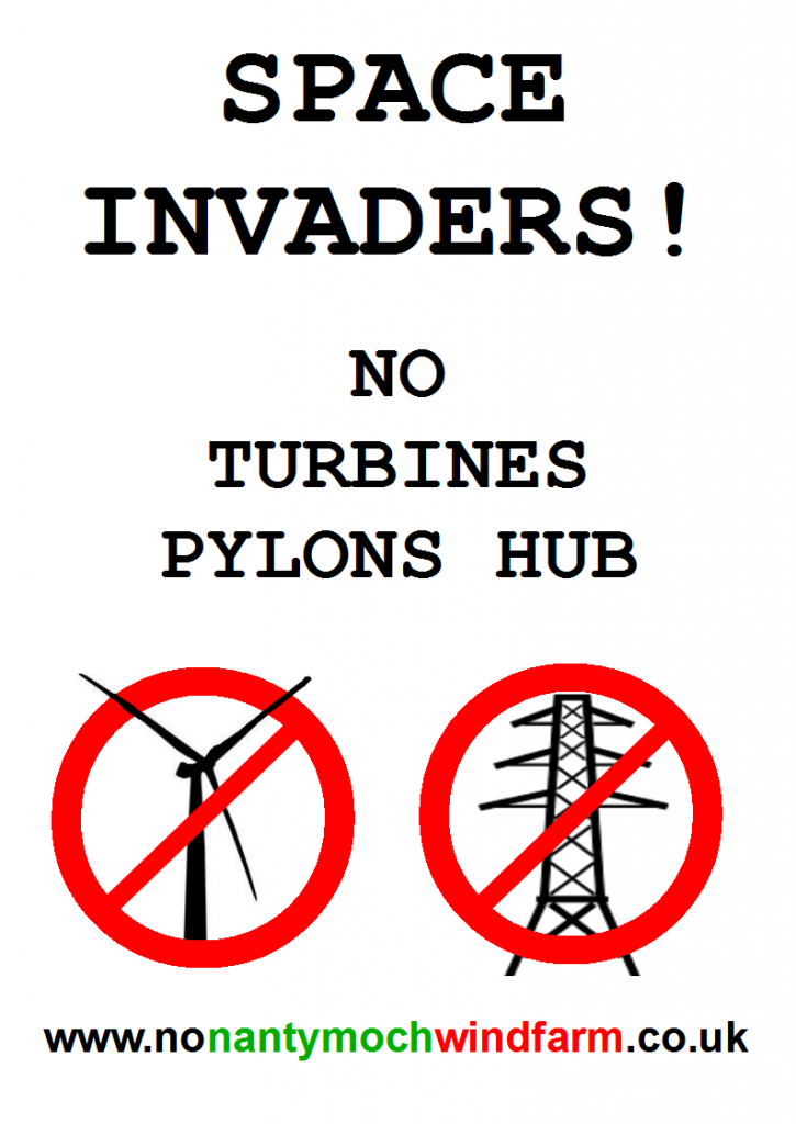 poster for campaign groups to say no object protest against Montgomeryshire Powys Shropshire Welshpool Newtown pylons