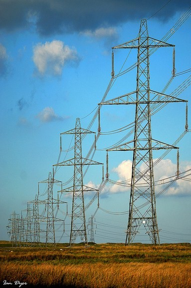 electricity pylons in the countryside - copyright Ian Dyer
