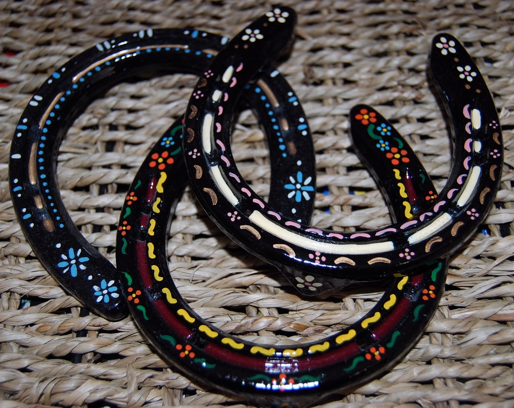 Heidi 39 s handpainted horseshoes for How to decorate horseshoes
