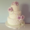 Vintage rose and bunting wedding cake