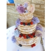 Natural Wedding Cake with fresh flowers and berries
