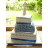 Offset Royal Blue Filligree Wedding Cake