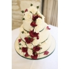 Ivory and Claret Rose cascading wedding cake