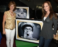 Cathy & Candace pose with Phil's stamp!
