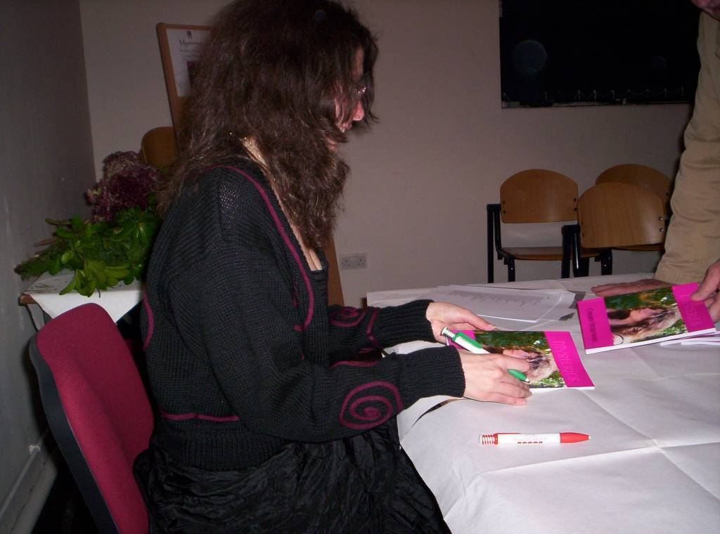 Chrissy signs copies of her first book, Cardiff 2008