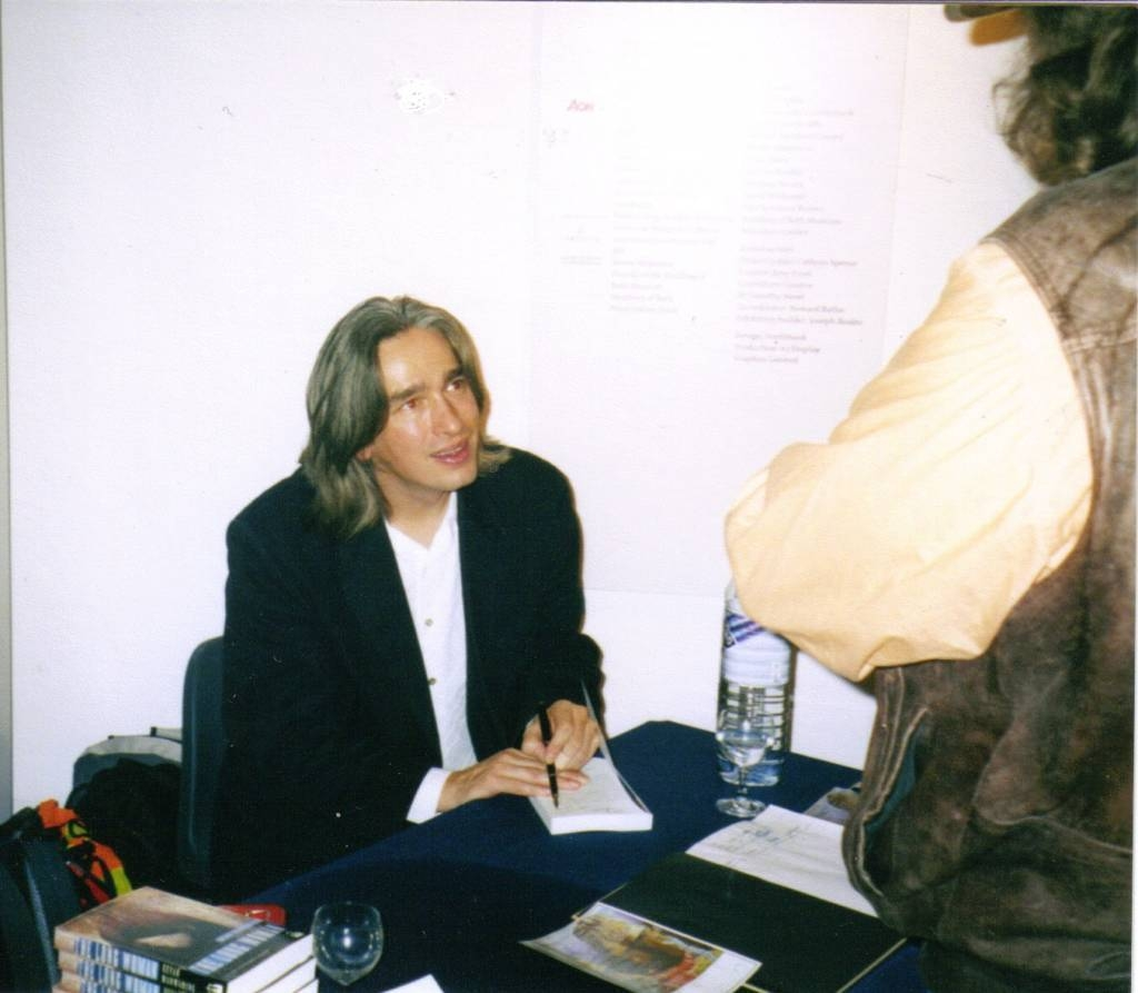 Kevan launching his first novel, The Long Woman, Bath 2004